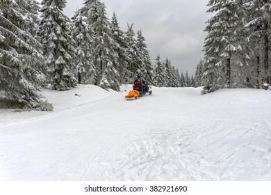 JAKUSZYCE, POLAND - February 19, 2016: Ski patrol evacuate an injured skier