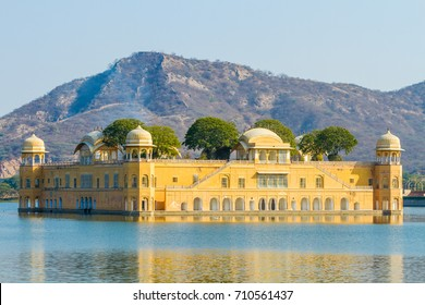 The Jal Mahal (Water Palace) outside of Jaipur City, Rajasthan, India.
