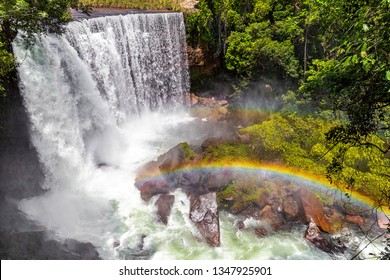 JALAPAO, BRAZIL - CIRCA SEPTEMBER, 2018: Cachoeira da Fumaça is one of the countless waterfalls that have become tourist attractions in the region of Jalapao, state of Tocantins