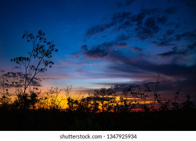 JALAPAO, BRAZIL - CIRCA SEPTEMBER, 2018: Dusk in the cerrado, biome typical of the dry region of central Brazil and that can be seen in Jalapao, state of Tocantins