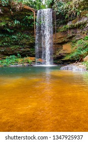 JALAPAO, BRAZIL - CIRCA SEPTEMBER, 2018: Cachoeira do Evilson is one of the countless waterfalls that have become tourist attractions in the region of Jalapao, state of Tocantins