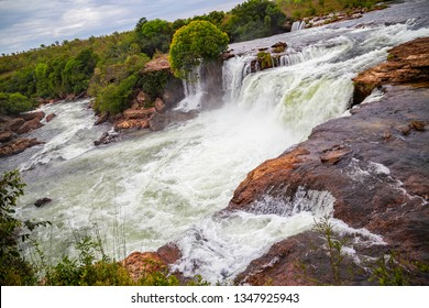 JALAPAO, BRAZIL - CIRCA SEPTEMBER, 2018: Cachoeira da Velha is one of the countless waterfalls that have become tourist attractions in the region of Jalapao, state of Tocantins