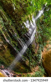 JALAPAO, BRAZIL - CIRCA SEPTEMBER, 2018: Cachoeira Escorrega Macaco is one of the countless waterfalls that have become tourist attractions in the region of Jalapao, state of Tocantins