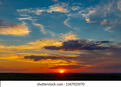 JALAPAO, BRAZIL - CIRCA SEPTEMBER, 2018: Sunset seen from the top of the rock formation called Pedra Furada is one of the tourist attractions of the Jalapao region, in the state of Tocantins