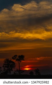JALAPAO, BRAZIL - CIRCA SEPTEMBER, 2018: Sunset in the cerrado, biome typical of the dry region of central Brazil and that can be seen in Jalapao, state of Tocantins