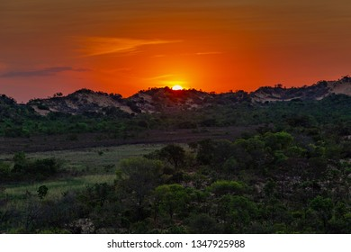 JALAPAO, BRAZIL - CIRCA SEPTEMBER, 2018: Sunset on the dunes of Jalapao State Park is one of the most popular tourist attractions in this region of the state of Tocantins