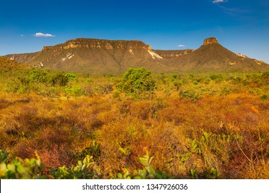 JALAPAO, BRAZIL - CIRCA SEPTEMBER, 2018: Landscape of the Jalapao State Park, in Tocantins, with typical dry cerrado vegetation in the foreground and rock formations in the background