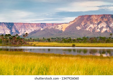 JALAPAO, BRAZIL - CIRCA SEPTEMBER, 2018: Landscape of the Jalapao State Park, in Tocantins, with green and golden vegetation typical of the cerrado in the foreground and rock formations in the backgro
