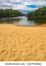 JALAPAO, BRAZIL - CIRCA SEPTEMBER, 2018: Rio Novo Beach is one of the places where tourists can take a river bath in the region of Jalapao, state of Tocantins