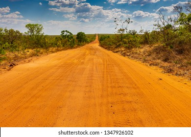 JALAPAO, BRAZIL - CIRCA SEPTEMBER, 2018: The red dirt roads that lead to Jalapao are not easily accessible, being necessary to get around using 4x4 vehicles