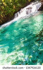 JALAPAO, BRAZIL - CIRCA SEPTEMBER, 2018: Formiga Waterfall is one of the most popular tourist attractions in the Jalapao region, in the state of Tocantins, due to its intensely green/blue waters