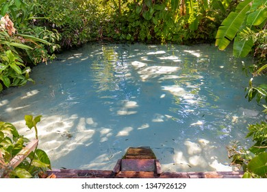 JALAPAO, BRAZIL - CIRCA SEPTEMBER, 2018: Fervedouro Rio Sono is one of the crystalline water springs that sprout from the sand where tourists can swim in the region of Jalapao, Tocantins
