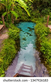 JALAPAO, BRAZIL - CIRCA SEPTEMBER, 2018: Fervedouro Buritizinho is one of the crystalline water springs that sprout from the sand where tourists can swim in the region of Jalapao, Tocantins
