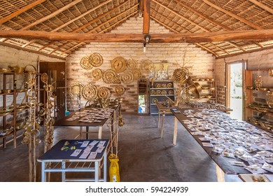 JALAPAO, BRAZIL - JANUARY 2017 - Craft store of products of typical Capim Dourado on january 6th, 2017. Mumbuca Community, Jalapao State Park, Tocantins, Brazil.