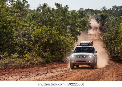 JALAPAO, BRAZIL - JANUARY 2017 -  Dust cloud of an offroad vehicle on january 5th, 2017. Tourist driving at Jalapao State Park, Tocantins, Brazil.