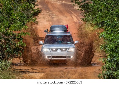JALAPAO, BRAZIL - JANUARY 2017 -  A mud splash of an offroad vehicle on january 5th, 2017. Tourist driving at Jalapao State Park, Tocantins, Brazil.