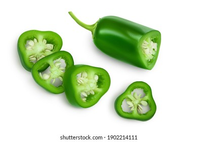 jalapeno peppers isolated on white background. Green chili pepper with clipping path. Top view. Flat lay