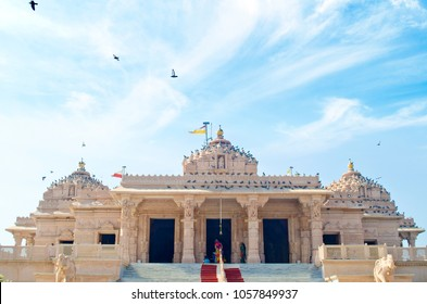 jalaram temple in rajkot, india with beautiful blue sky