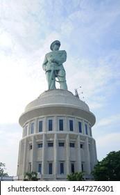 Jalesveva Jayamahe monument located in Surabaya, Indonesia.