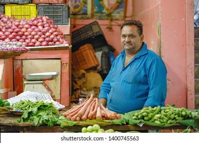 Jalgaon, India - April 9, 2019: indian vegetable market