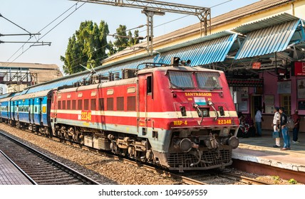 Jalgaon, India - February 8, 2018: Passenger train at Jalgaon Junction railway station. Indian Railways network spans 121,407 km of tracks