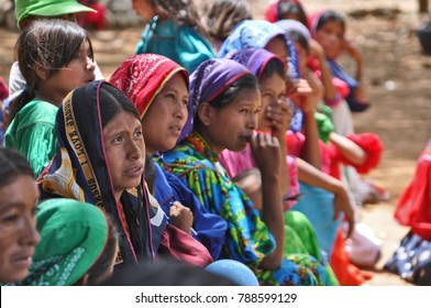 JALISCO, MEXICO – MARCH 21, 2016: Mothers from Huichol Tribe await the medical examination of their children.