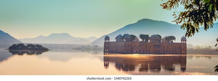 Jalmahal jaipur . famous heritage places in Jaipur,  rajasthan during sunset. tourist places