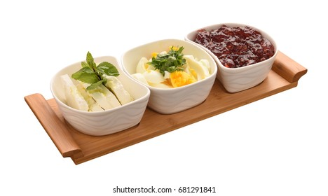 Jam and boiled eggs cheese