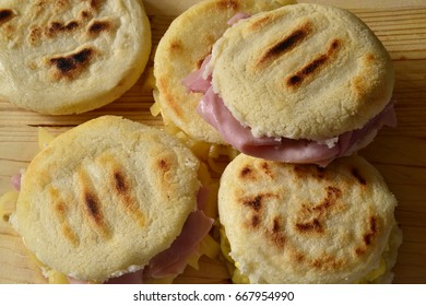 Jam and cheese arepas for breakfast.