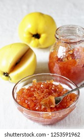jam or confiture from a quince. quince brewed in sugar cubes