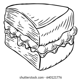 A jam and cream Victoria sponge cake slice hand draw in a retro vintage woodcut engraved or etched style.