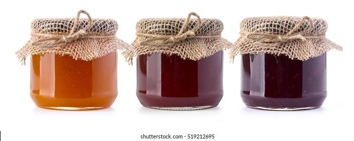 Jam jar bottles isolated on white background