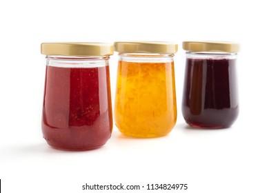 Jam jar isolated on white background