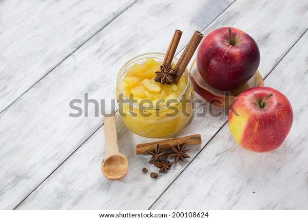 Jam in jar on a light wooden background