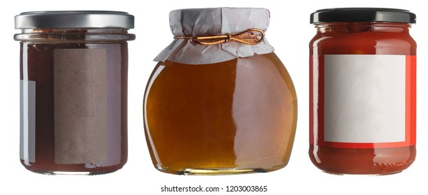 Jam jar set whith blank labels isolated on white. Fruit preserves