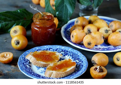jam from a loquat. yellow southern fruits grow in the subtropics.  loquat is rich in vitamins