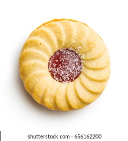 Jam ring biscuit isolated on white background.