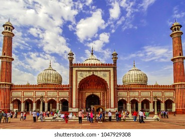 Jama Masjid, New Delhi - October 10th, 2016: Tourists comprising of Muslims as well as non-Muslims come to visit this architectural grandeur of Jama Masjid, built by the Mughal emperor, Shah Jahan