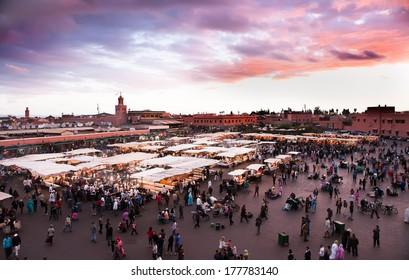 Jamaa el Fna (also Jemaa el-Fnaa, Djema el-Fna or Djemaa el-Fnaa) is a square and market place in Marrakesh's medina quarter (old city). Marrakesh, Morocco, north Africa. UNESCO Heritage of Humanity.