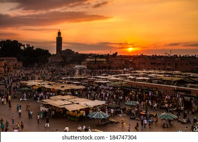 Jamaa el Fna (also Jemaa el-Fnaa, Djema el-Fna or Djemaa el-Fnaa) is a square and market place in Marrakesh's medina quarter (old city). Marrakesh, Morocco, north Africa.