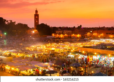 Jamaa el Fna also Jemaa el Fnaa, Djema el Fna or Djemaa el Fnaa, square and market place in Marrakesh medina quarter. Morocco, Africa. UNESCO Masterpiece of Oral and Intangible Heritage of Humanity.