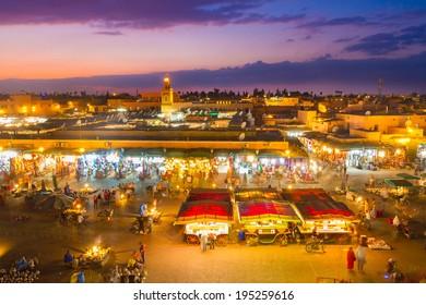 Jamaa el Fna also Jemaa el Fnaa, Djema el Fna or Djemaa el Fnaa is square and market place in Marrakesh's medina quarter. Marrakesh, Morocco, north Africa. UNESCO Heritage of Humanity.