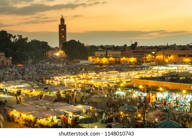 Jamaa el Fna market square, Marrakesh, Morocco, north Africa. Jemaa el-Fnaa, Djema el-Fna or Djemaa el-Fnaa is a famous square and market place in Marrakesh's medina quarter.