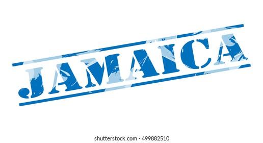 jamaica blue stamp on white background