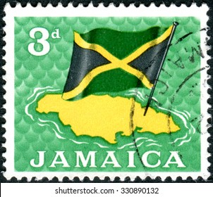 JAMAICA - CIRCA 1964: Postage stamp printed in Jamaica, shows Map and flag, circa 1964