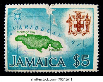 JAMAICA - CIRCA 1970-th: A stamp printed in Jamaica showing map , circa 1970-th.