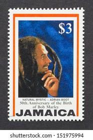 JAMAICA - CIRCA 1995: a postage stamp printed in Jamaica commemorative of the 50th anniversary of Bob Marley birth, circa 1995.