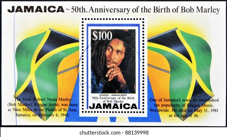 JAMAICA - CIRCA 1995: A stamp printed in Jamaica commemorating the 50th anniversary of the birth of Bob Marley, circa 1995