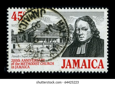 JAMAICA - CIRCA 1999: A stamp printed in JAMAICA shows image of the dedicated to the 200th Anniversary Of The Methodist Church in Jamaica, circa 1999.