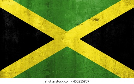 Jamaica country flag with grunge wall texture background.